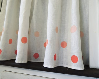 One Polka Dot Linen Cafe Curtain hand block printed in three tints of coral, cherry, aquamarine or french blue 57w x 27h inch home decor