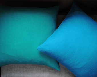 Solid color linen pillow covers bright blue and aquamarine home decor
