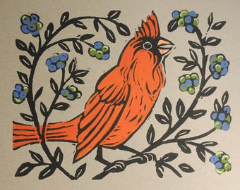 Bright red cardinal or blue jay bird hand block print with painted details unique gift