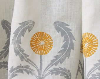 Dandelion linen cafe curtain kitchen home decor by giardino hand block printed gray ochre green yellow coral taupe 57 x 27 two panels