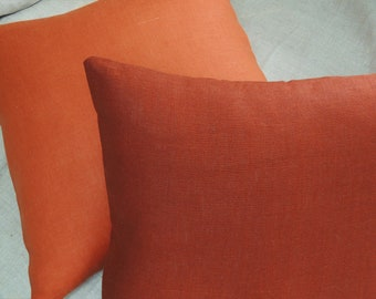 Solid color linen pillow covers burnt orange red earth home decor