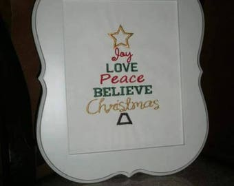 Joy Love Peace Believe Christmas Embroidered Fabric Frame INSERT
