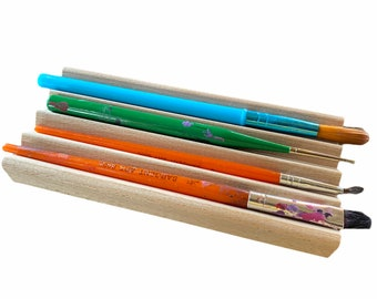2 Paint Brush Rests - handcrafted in the USA - solid beech wood - holds up to 4 paint brushes each for a total of 8 brushes