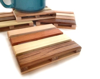 4 Coasters - Beverage Pallets - the PERFECT Christmas Stocking Stuffer - 4 multi reclaimed wood Beverage Pallet Drink Coasters