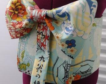 Handmade 3 Piece Asian Inspired Fake Obi   Orange and Dragon Print