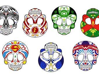 Justice League Sugar Skull Vinyl  Sticker Set
