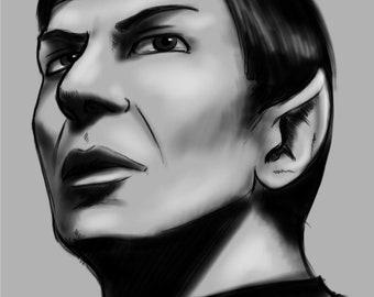 Leonard Nimoy as Star Trek Spock Sketch Print