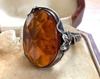 Huge Vintage Baltic Amber in Sterling Silver Setting Arts and Crafts