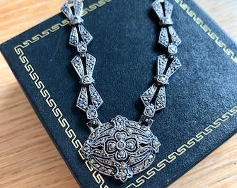 c1930 Sterling Art Deco Marcasite Necklace