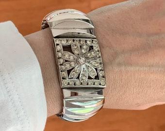 Vintage Hollywood Glamour Harwood Leading Lady Stretch Rhinestone Bracelet