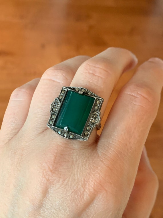 c1930 Art Deco Sterling Silver Green Chalcedony Ma