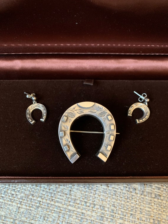 Sterling Victorian Horseshoe Brooch and Matching E