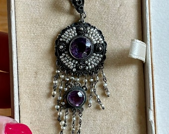 Late Victorian / Art Nouveau Amethyst and Seed Pearl Dangle Pendant