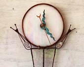 Rectangular Clock, Geometric, Contemporary Handmade Clock, Glass Wall Clock, Wedding Gift, Stained Glass, Custom Clock, Tiffany Method,