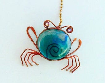 Crab Fan Pull, Crab Ornament, Coastal Pull,  Beachy , Sea Life Accents, Tree Ornament, Copper Crab, Glass, Blue Crab, hostess, fathers day