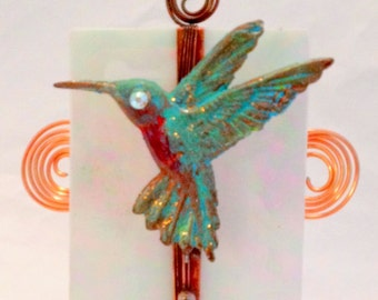 Handmade hummingbird nightlight, copper bird, glass with bird, bird light, copper, glass, hostess gift