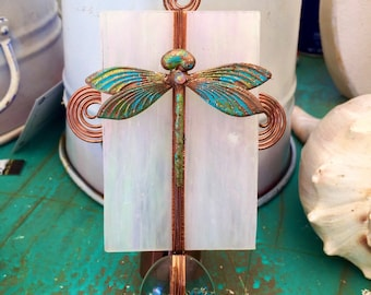 Handmade Glass dragonfly  nightlight, Cottage Chic, Stained Glass nightlight, Copper, Swarovski, Copper Night Light, hostess gift