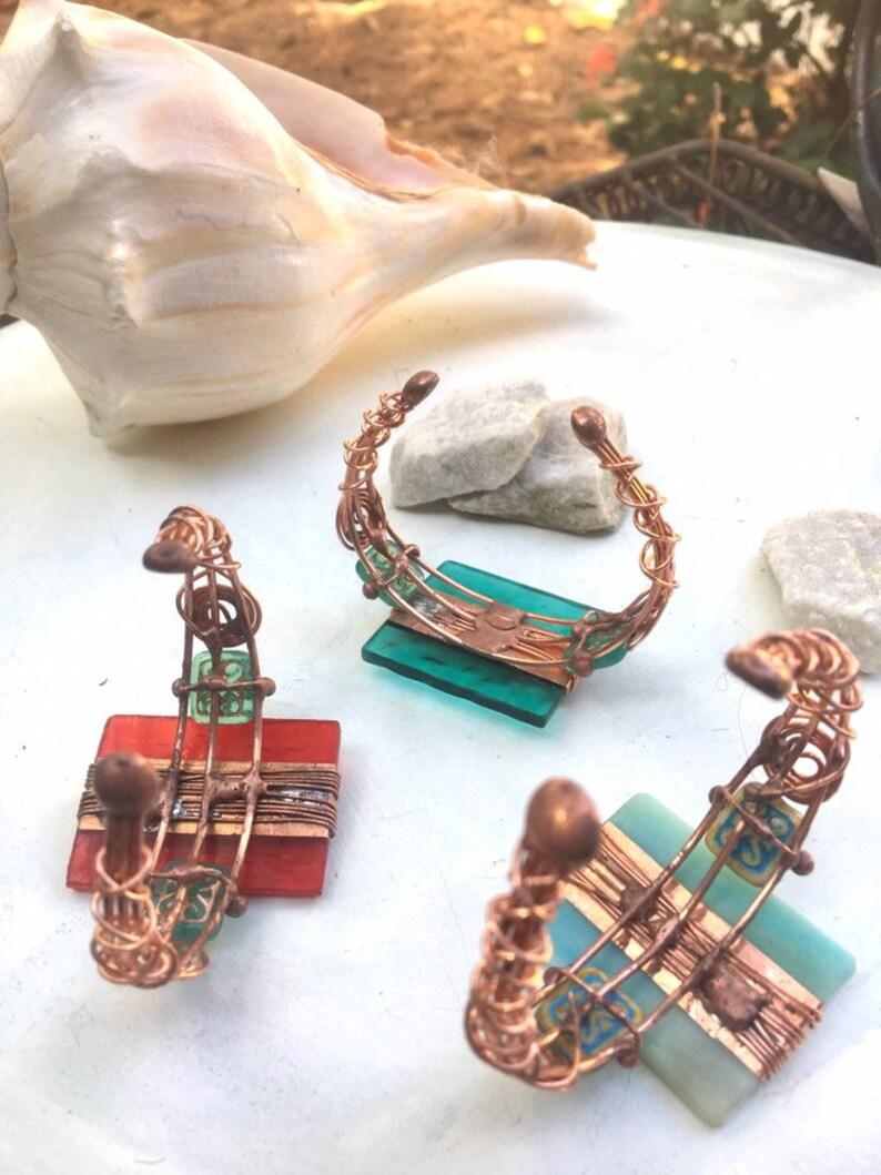 Handcrafted Deco Copper Geometric Glass Cuff Artisan,