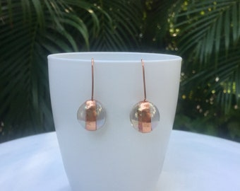 Copper drop earring, glass, simple earring,