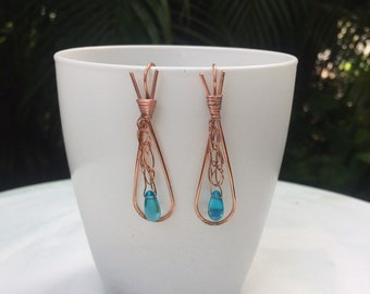 Copper crocheted earring, blue czech glass,
