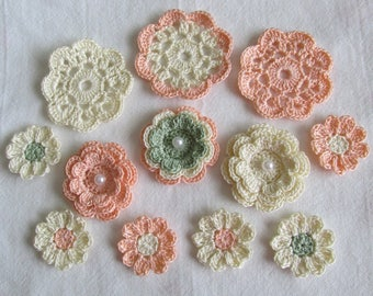 Crochet Flower Appliques, Embellishments, Variety, Cream, Peach, Green  - set of 12