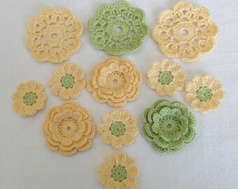 Crochet Flower Appliques, Embellishments, Variety  - set of 12, Yellow, Green