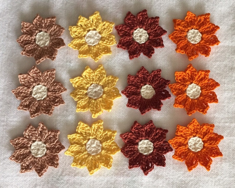 small flower appliques embellishments in fall colors set
