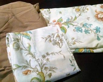 Vintage Twin Remix Sheets  / Brown Plus Floral Design / Retro Bedding / Vintage Linens / Retro Remix Sheet Set