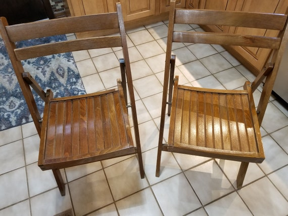 image 0 - Vintage Wood Folding Chairs Made In Romania Circa 1940s To Etsy