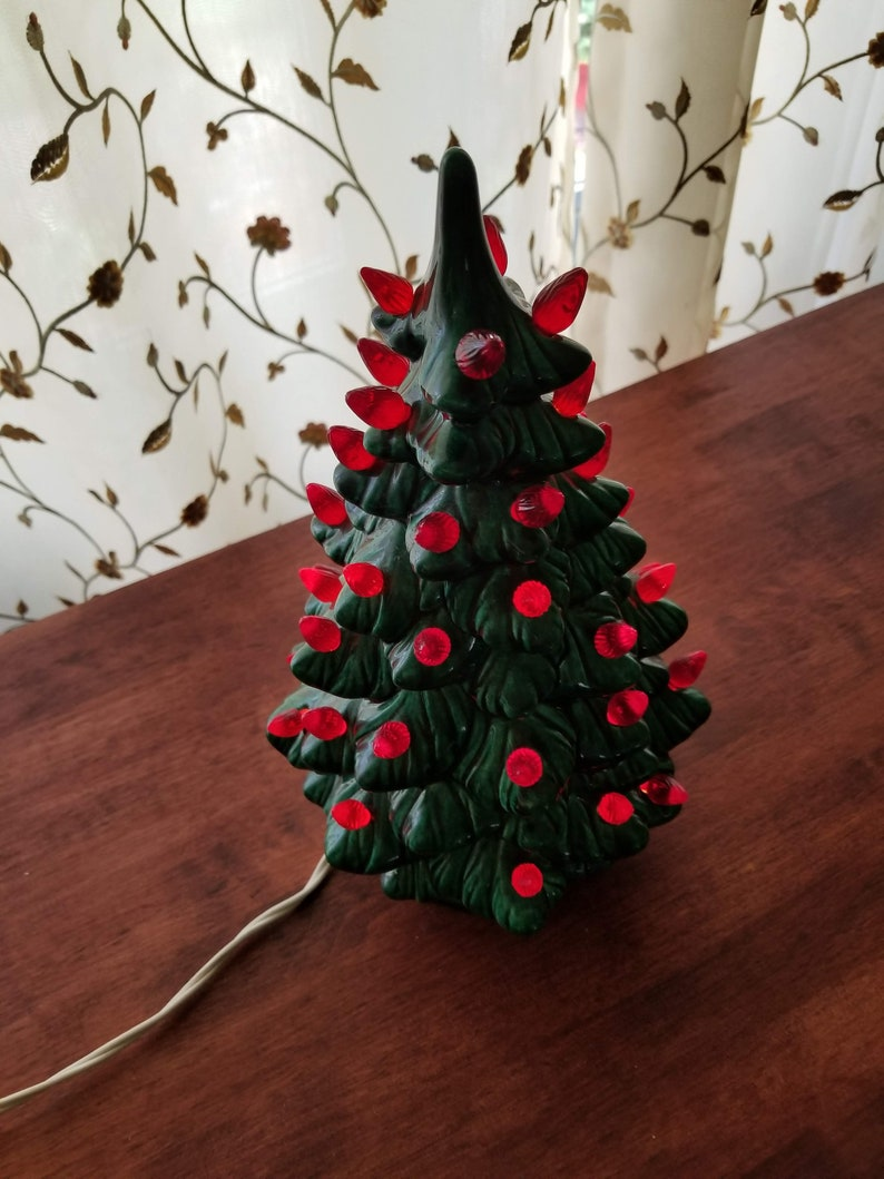 Ceramic Lighted Christmas Tree 11 1 2 Inch Vintage Tree Retro Christmas Decorations Green Tree With Red Lights Vintage Xmas Decor