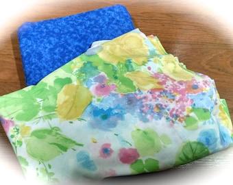Vintage Twin Remix Sheets  / Blue Plus  Pastel Floral Design / Retro Bedding / Vintage Linens / Retro Remix Sheet Set
