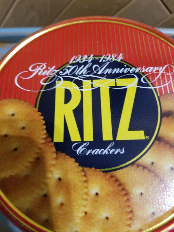 Ritz Crackers 50th Anniversary  1984 Metal Tin Retro Food Container Vintage Collectable Display Tin  Photo Prop