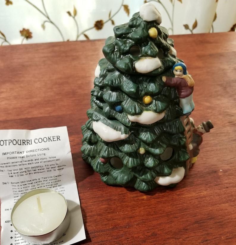 Vintage Ceramic Christmas Tree Potpourri Cooker 3 Piece Potpourri Cooker Air Fresheners