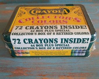 Crayola Crayons 72 Crayons Collector's Colors Limited Edition 8 Retired Colors NOS Never opened Tin
