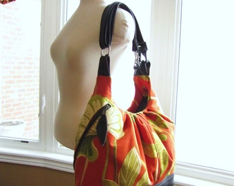Extra large convertible diaper bag orange floral canvas with leather straps and base - Lotus leafs - Made to order