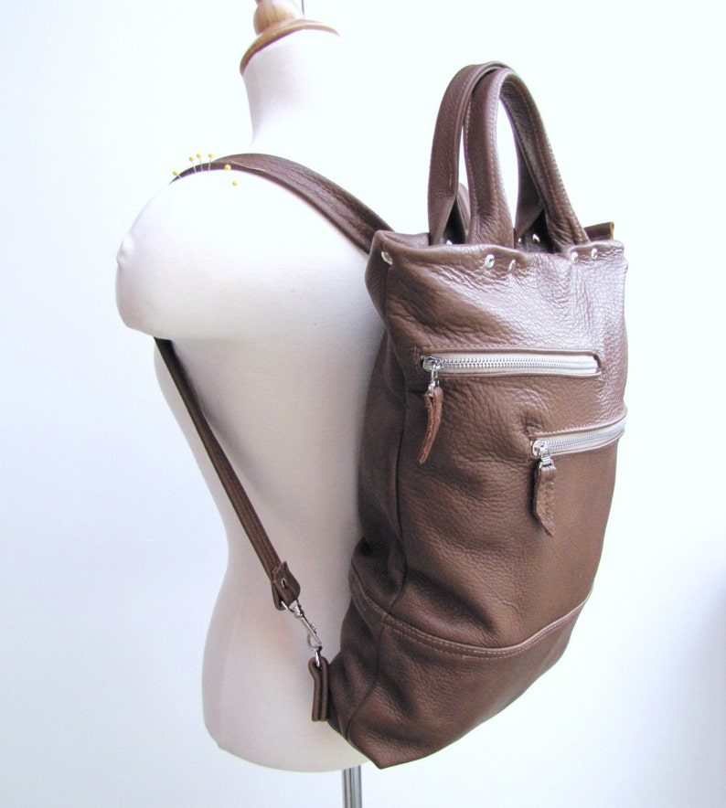 Tan leather laptop bag Unisex leather backpack and briefcase convertible messenger bag