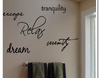 DREAM, RELAX , ESCAPE... - Vinyl Wall Lettering Words Decal