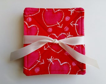VALENTINE'S DAY Fabric Coasters, Valentine's Day, Kitchen Decor, Hostess Gift, Set of 6 Fabric Coasters, Ready to Ship