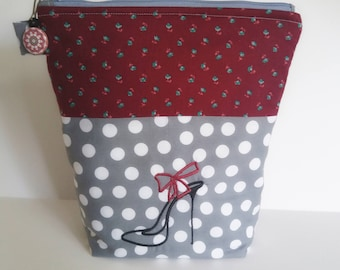 Polka Dot Zipper Pouch, High Heel Embroidered Design, Polka Dot Cosmetic Pouch, Makeup White Polka Dot Bag, READY TO SHIP, Gift for Her