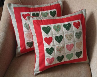 Valentine's Pillow Covers, HEART Pillows, 16x16 Pillow Covers, Quilted Heart Pillow Covers, Decorative Pillows, Ready to Ship