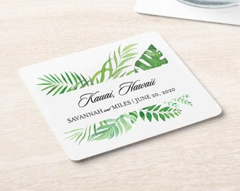 Tropical Greenery Wedding Location and Date Coaster   Set of 100
