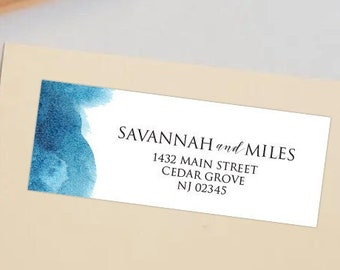 Watercolor Blue Wash Return Address Shipping Labels   2 Sizes