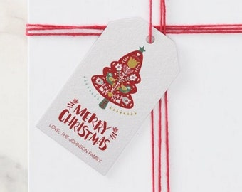 Printed Scandinavian Christmas and Holiday Gift Tags with Strings    2 x 3.5 inches