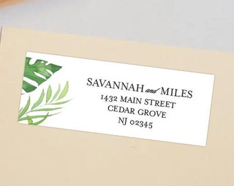 Tropical Greenery Return Address Shipping Labels   2 Sizes