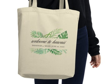 Tropical Greenery Welcome Tote Bag with Location and Date