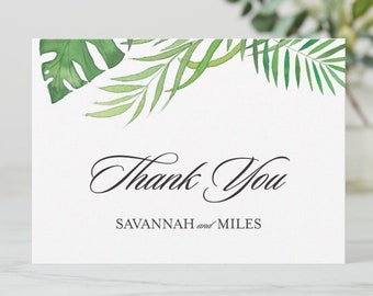 Tropical Greenery Thank You Folded Note Cards with Personalized Names   4.5 x 6.25