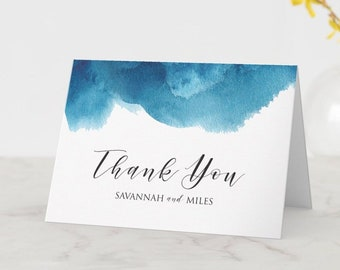 Watercolor Blue Thank You Folded Note Cards with Personalized Names   4.5 x 6.25