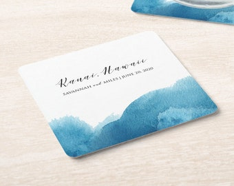 Blue Watercolor Wedding Location and Date Coaster   Set of 100
