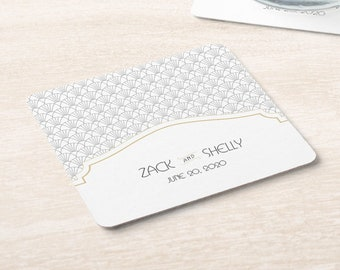 Art Deco 1920s Wedding Names and Date Coasters   Set of 100