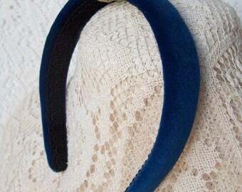 cobalt blue velvet head band LAST ONE